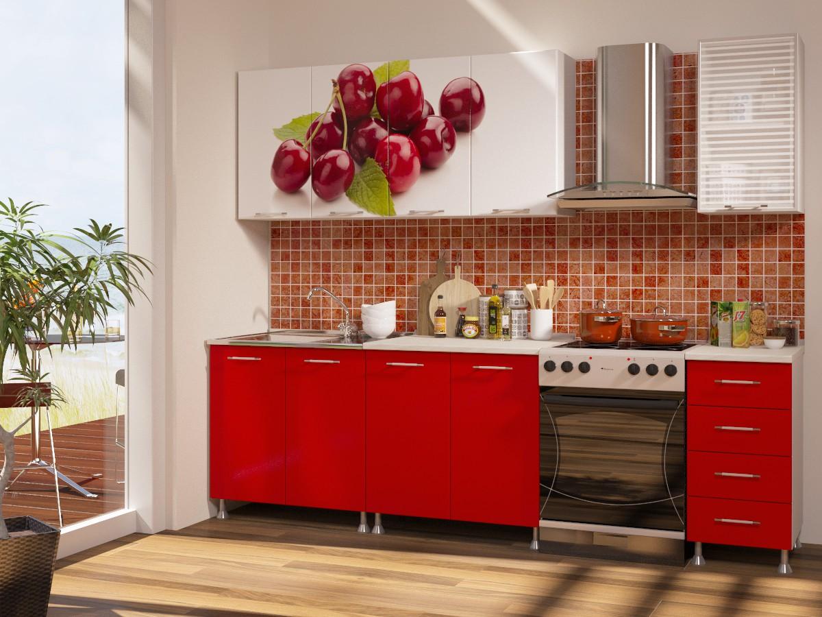 Кухня с фотопечатью вишня